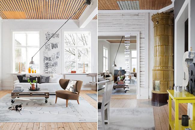 Un moderno apartamento sueco decorando el hogar - Poner chimenea piso ...